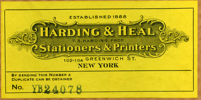 Harding & Heal, Stationers & Printers, New York, NY (136mm x 66mm). Courtesy of Robert Behra.