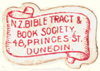 New Zealand Bible Tract & Book Society, Dunedin, New Zealand (15mm x 10mm). Courtesy of Siobhan McCormack.