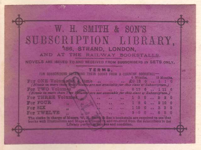 W.H. Smith, Subscription Library, London, England (102mm x 75mm, c.1894). Courtesy of David Neale.