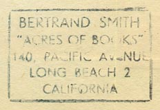 Bertand Smith's Acres of Books, Long Beach, California (inkstamp, 35mm x 23mm, c.1950s).